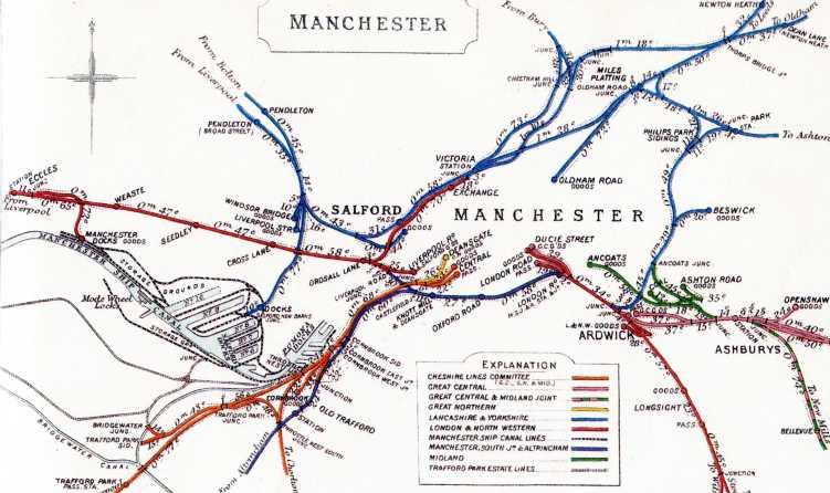 Railway Clearing House map of Manchester, early 1900's.