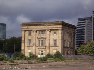 The original Curzon St Station of the L&B as seen in 2009 across land cleared and reserved for the HS2 station.