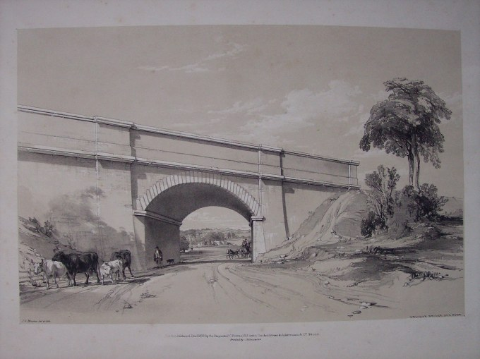 Boxmoor Skew Bridge by J. C. Bourne  c1839. The view through the arch in towards present day Hemel Hempstead.