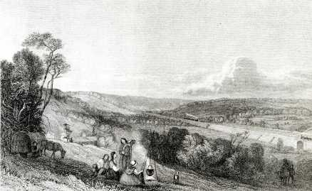 The Hill Above Boxmoor Towards Berkhamsted c1839 - steam trains in the distance on the newly built railway embankment.