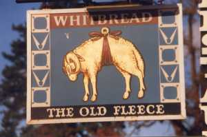 Rooksmoor: The Old Fleece pub sign 1986. Reflecting the wool producing history of the area.