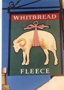 Lightpill: The Fleece Inn pub sign 1986. It was later renamed