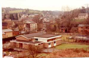 Nailsworth former railway goods yard and Railway Hotel viewed from Watledge 1982.