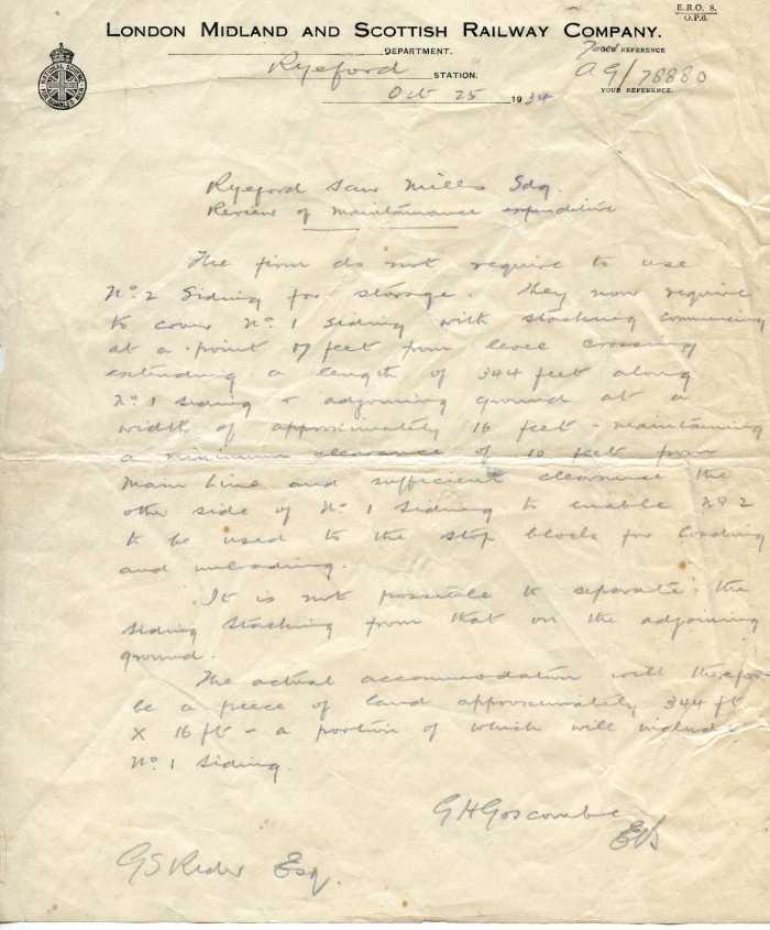 Ryeford Station letter 2